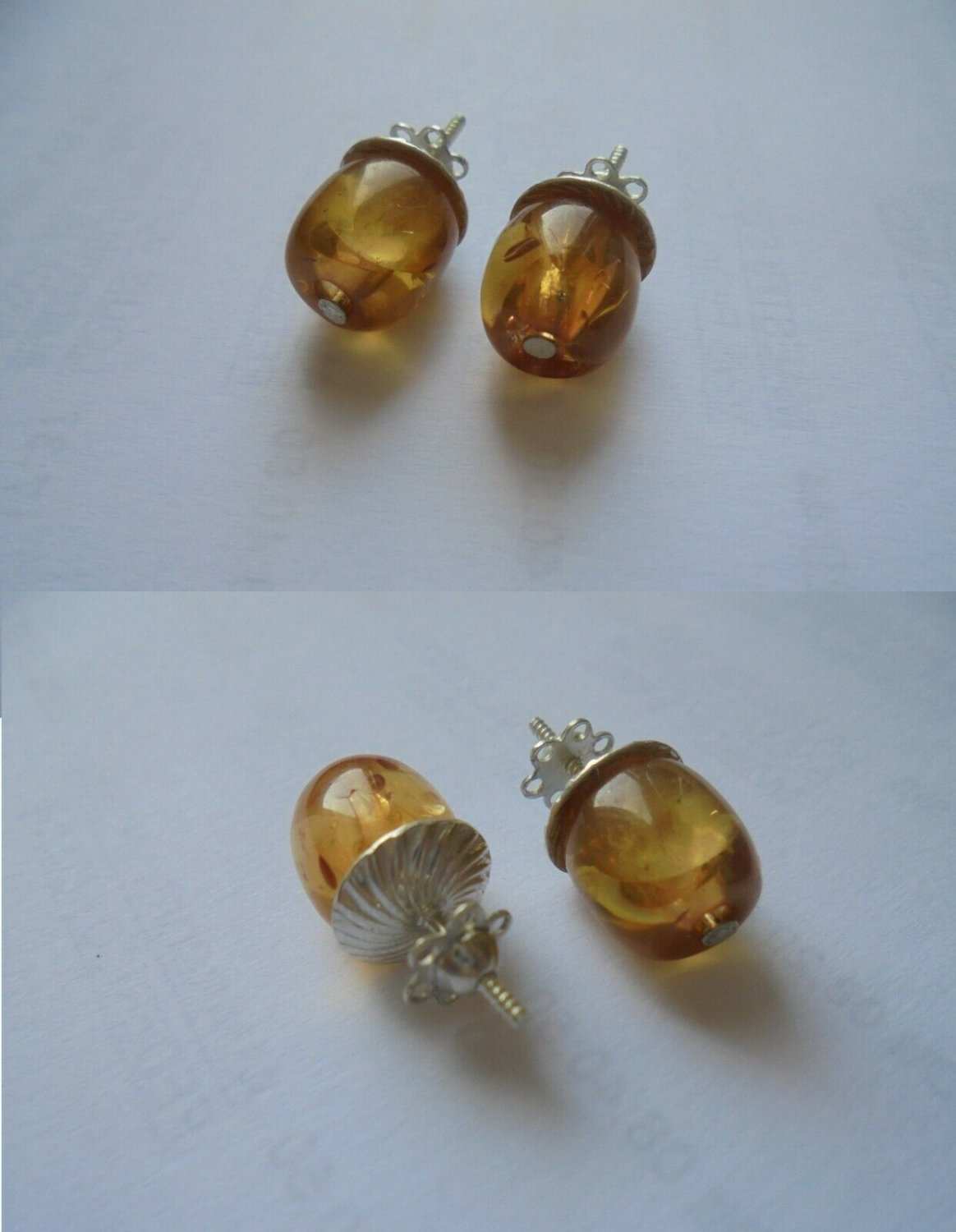 MURANO YELLOW GLASS stud earrings and in silver 800 Originals Made in Italy