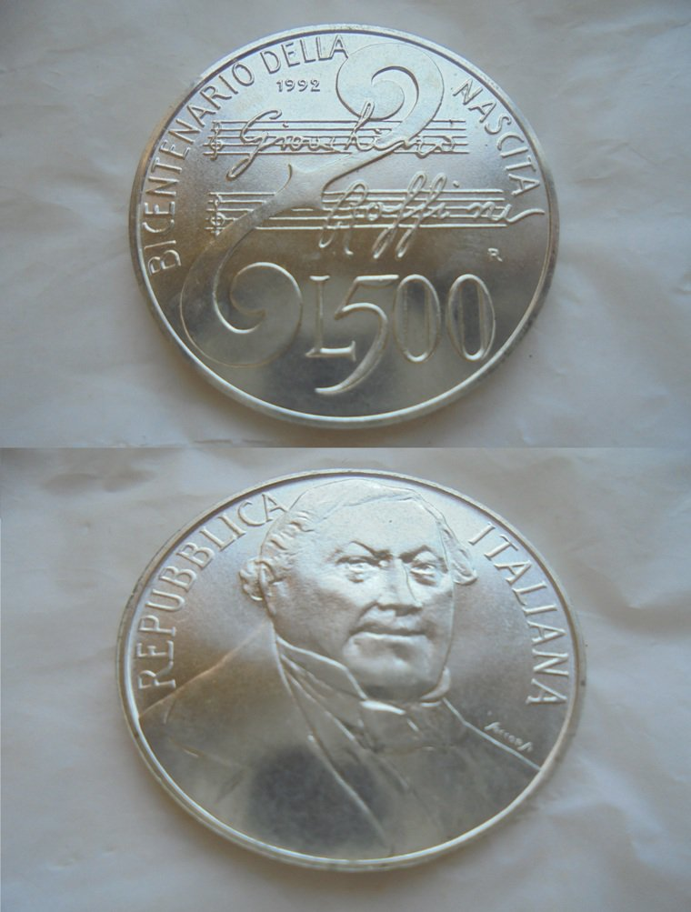 GIOACCHINO ROSSINI italian coin in silver 925 Lire 500 1992 Bicentenary Original
