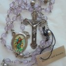 ROSARY of the ASSUMPTION violet beads with cross Original Made in Italy