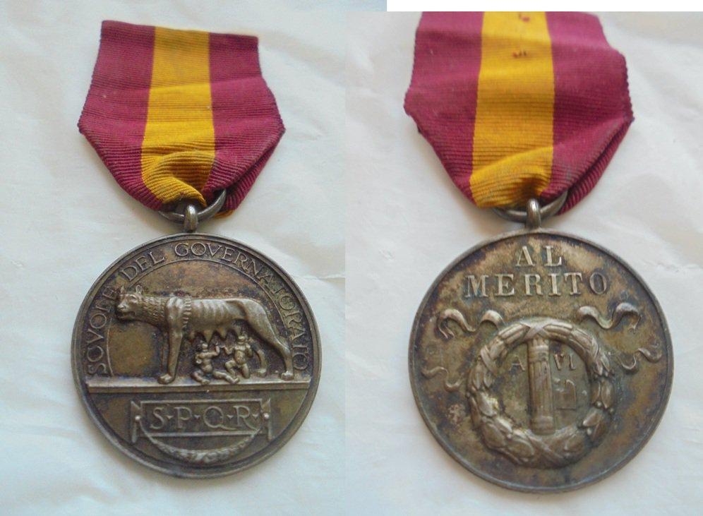 MEDAL of the Governatorato di Roma to the merit in SILVER 800 Original 1927 Italy