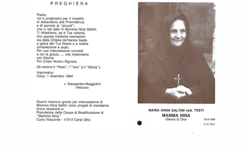 Mamma Nina Maria SALTINI sacred immage with reliquary relic Original 1957 Modena Italy
