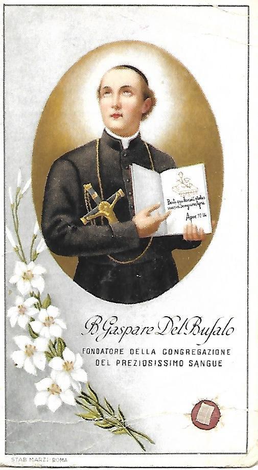 GASPARE DEL BUFALO sacred immage with reliquary relic Original 1941 Italy