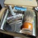 TRAVEL SET Shaving razor GILLETTE Ball End in original leather box Made in Englan 1950s gilette