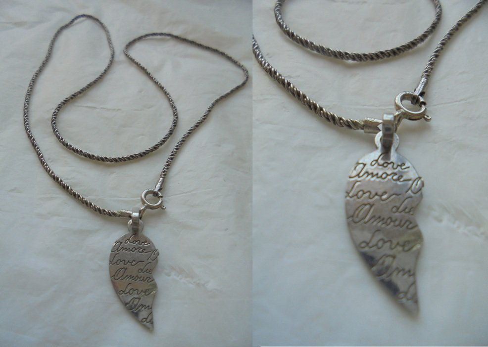 NECKLACE in SILVER STERLING 925 with heart pendent Love in sterling silver 925 In gift box