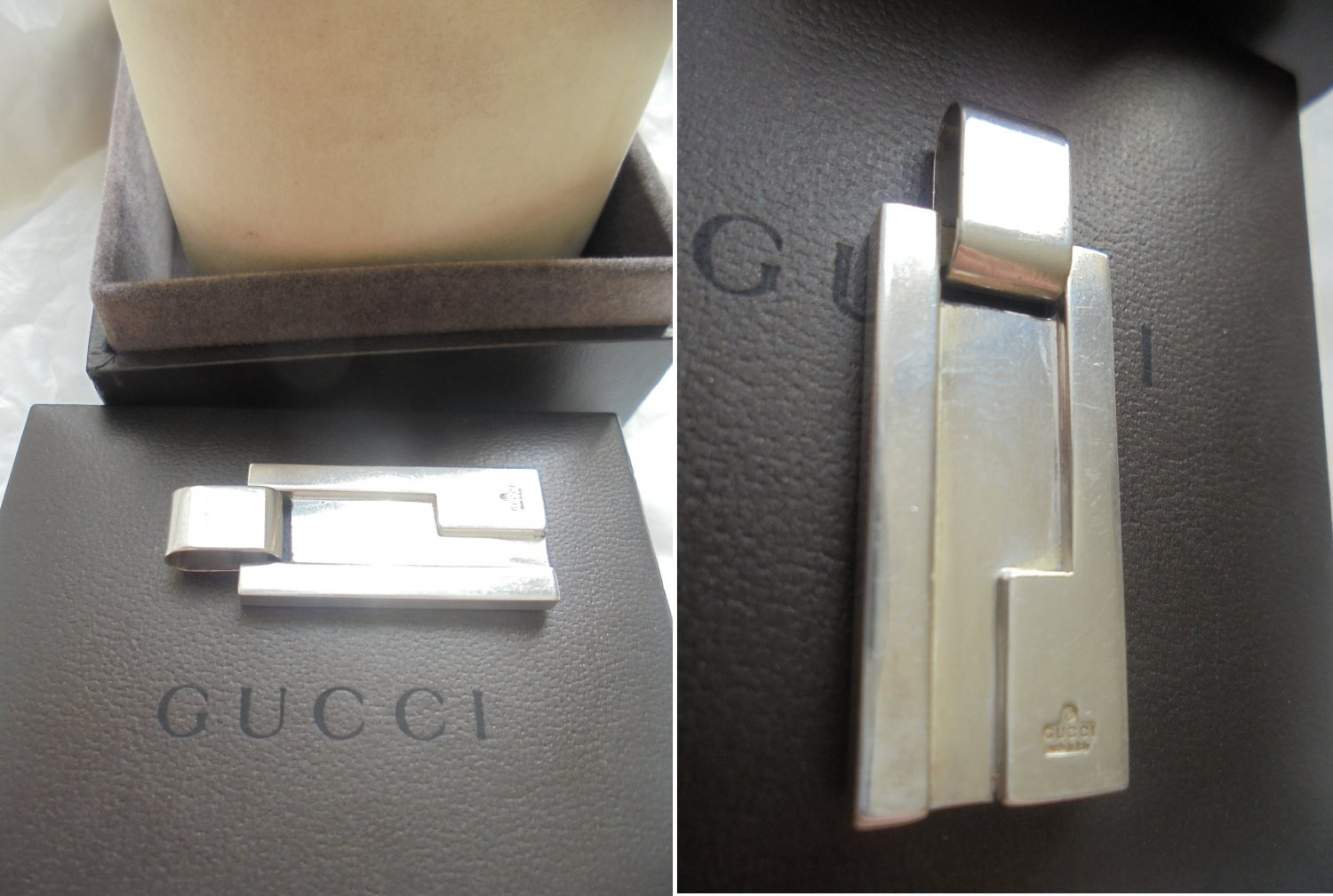 GUCCI PENDENT CHARM for necklace or bracelet in Silver sterling 925 Original in gift box 1980s