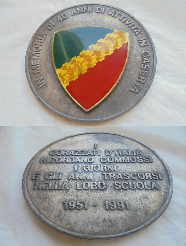 MILITARY MEDAL PAPERWEIGHT in bronze Italy Reparto Corazzati d'Italia 40th anniversary 1951 - 1991