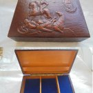 CARILLON LEATHER BOX for tabacco cigarettes or jewelry 1970s