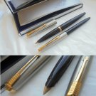 PARKER 45 SET fountain pen and ball point pen in steel and black In gift box + garantee Original