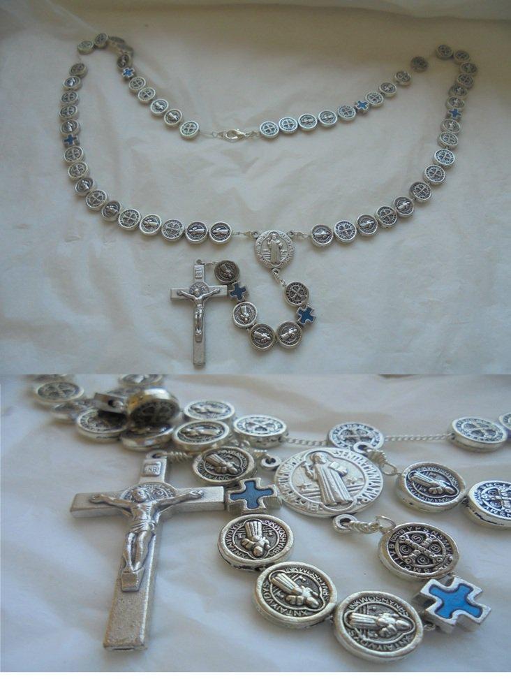 Praying ROSARY necklace of SAINT BENEDICT of Nursia in metal lacquè Original