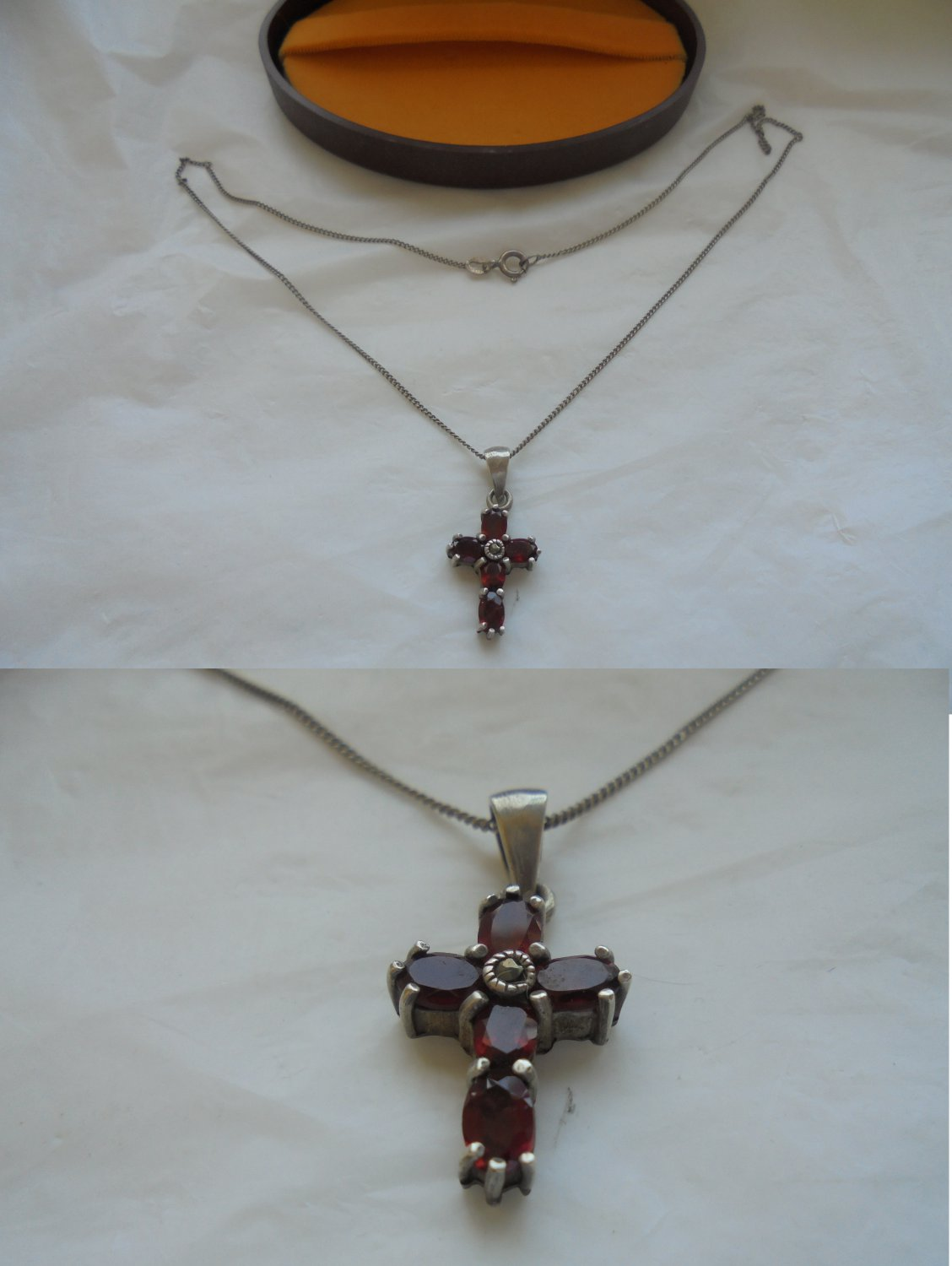 NECKLACE chain with CROSS in silver 925 and with RUBIES Original in gift box 1970s