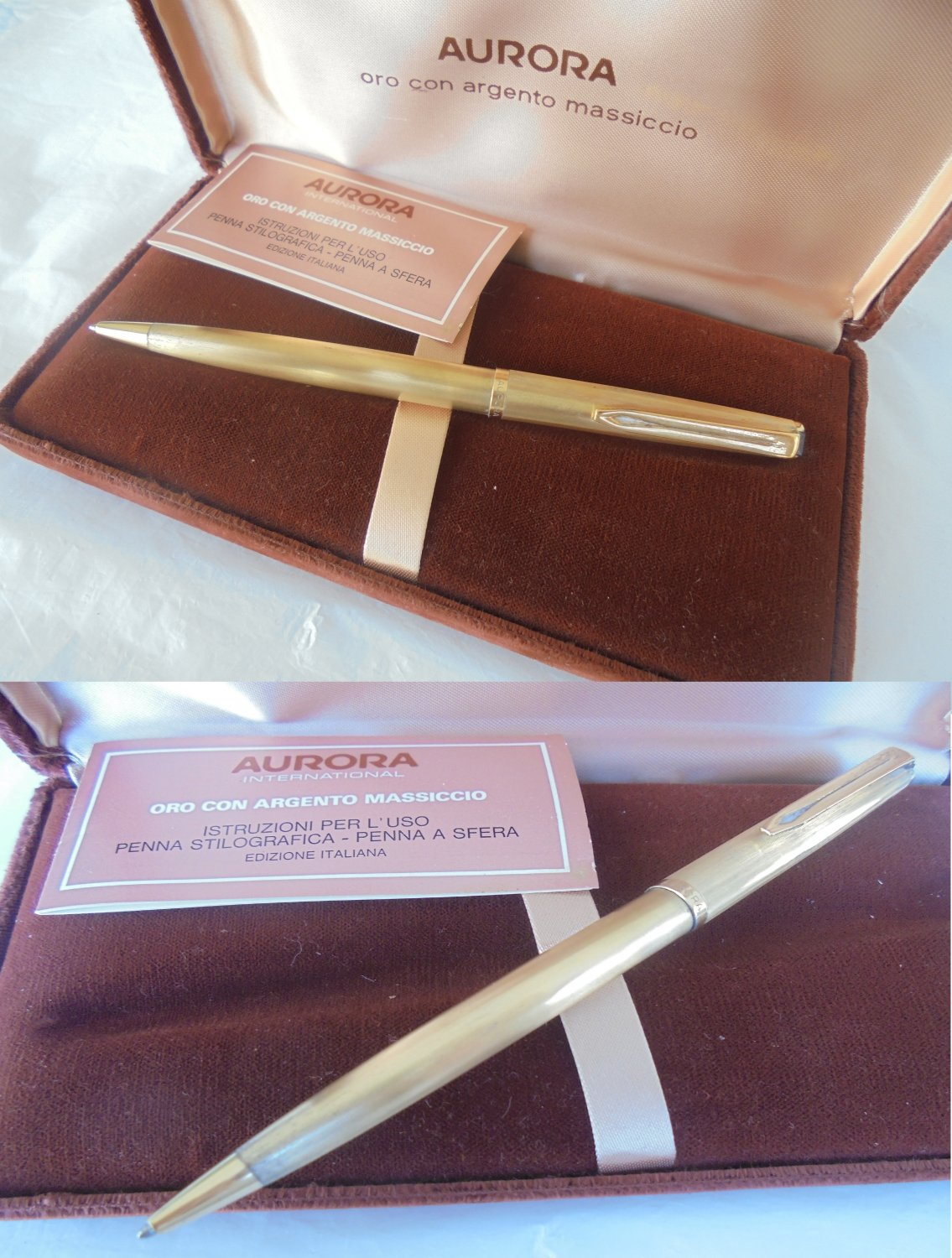 AURORA 98 ball point pen VERMEIL in SILVER sterling 925 and gold In gift box with garantee