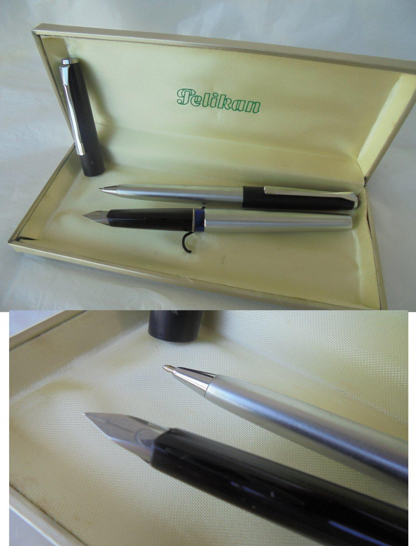 PELIKAN SILVEXA set ball pen and fountain pen black and steel Original in gift box