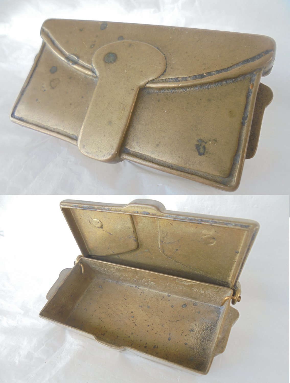 CARABINIERI GIBERNA BOX in brass Original Italy 1960s militaria