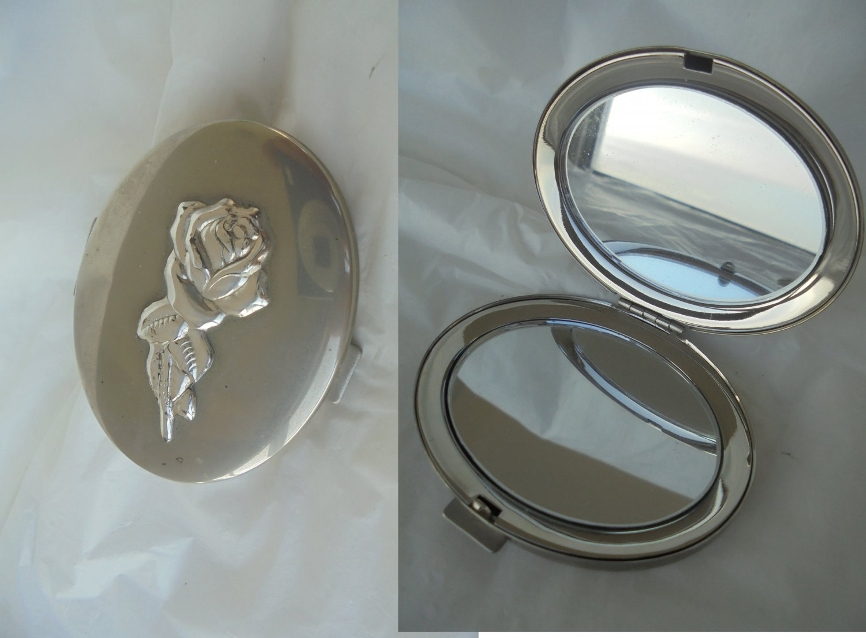 Portable purse bag MIRROR hand pocket mirror in SILVER STERLING 925 Original