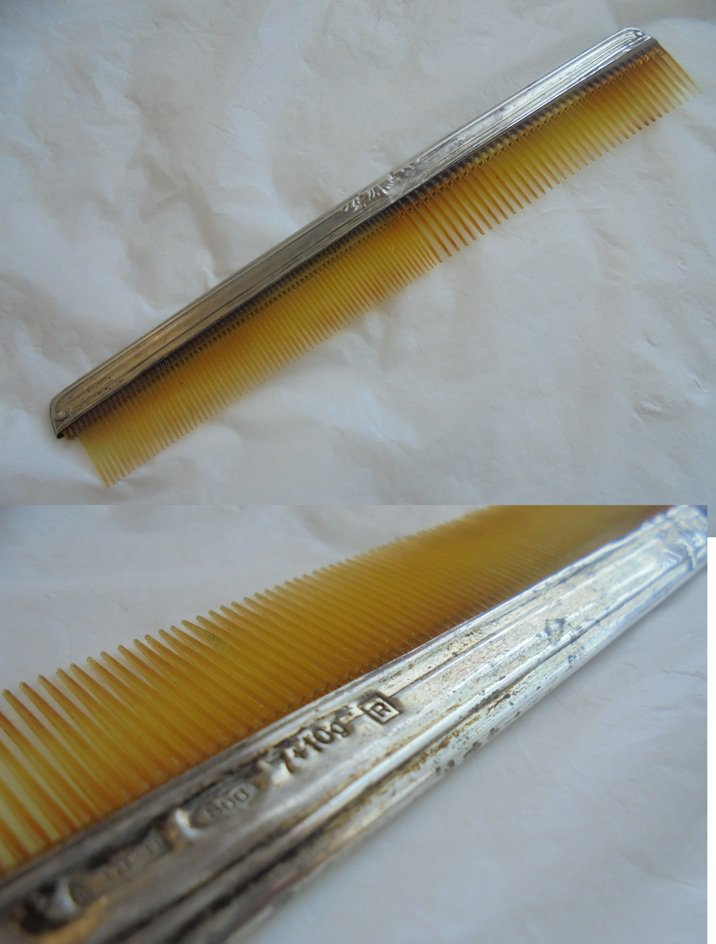COMB IN SILVER 800 Original Made in Italy Florence 1940s