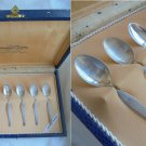 SET of 6 SPOONS in SILVER 800 for coffee or dessert Italy Padova In box 1960s Grams 49