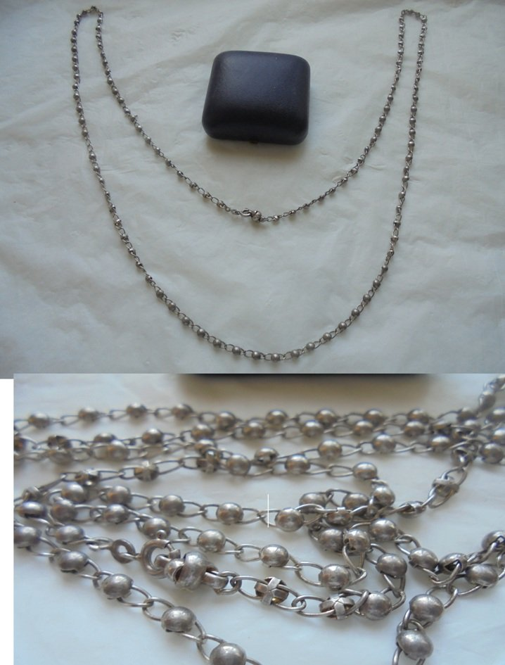 LONG NECKLACE in SILVER 800 with small spheres pearls in silver Original 1960s in gift box