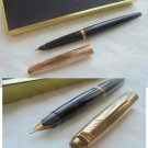 PARKER 45 fountain pen in black and cap in rolled gold Original in gift box 1960s