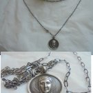 NECKLACE in SILVER with pendent charm of BYZANTINE Vergin Mary