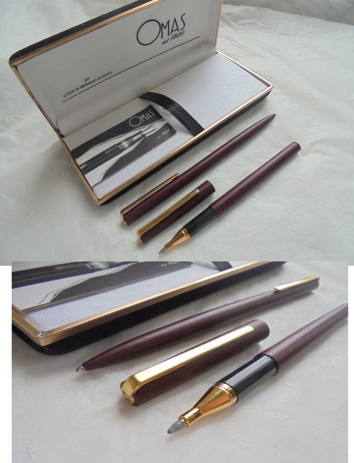 OMAS 80 SET of ball point pen and fineliner pen In steel red bordeaux color In gift box