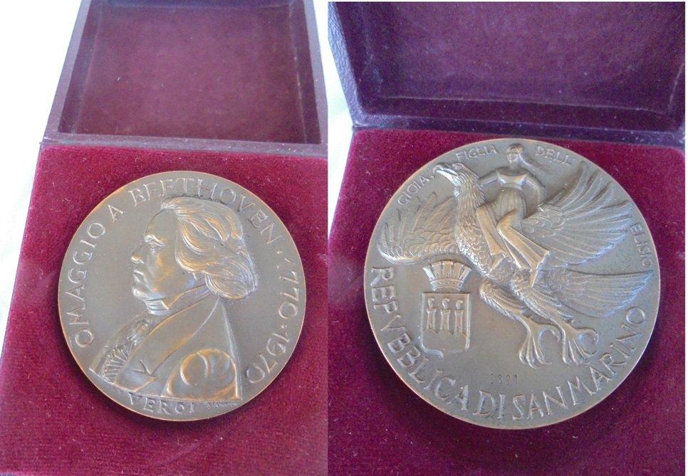 BRONZE MEDAL Ludwig van Beethoven 200th Anniversary Republic of San Marino VEROI 1970