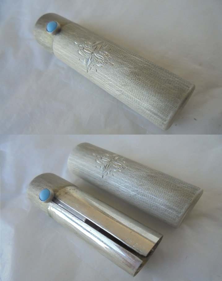 LIPSTICK stick holder cilinder case in SILVER 800 with turquoise stone Original from 1950s