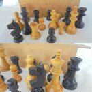 WOOD CHESS SET carved and complete in wood box 1960s