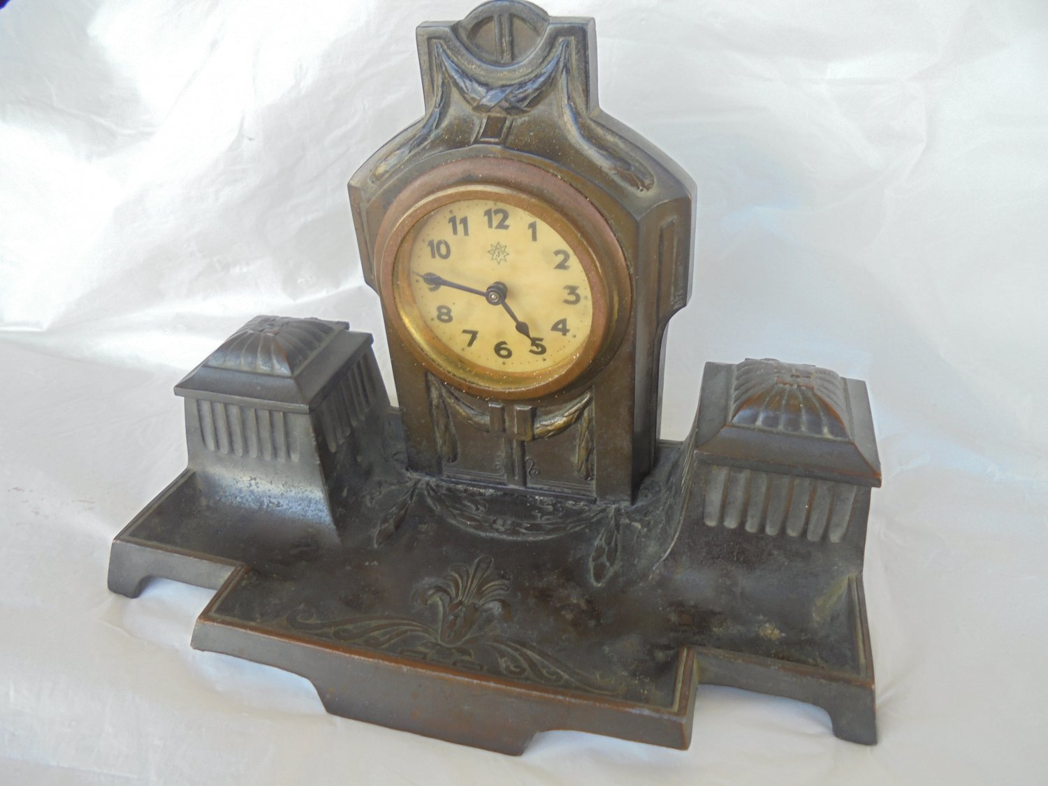 DESK ink STAND with CLOCK Original 1940s in bronze and antimony Art Deco