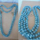 LONG NECKLACE double turn with beads in Murano Italy glass light blue color 1980s