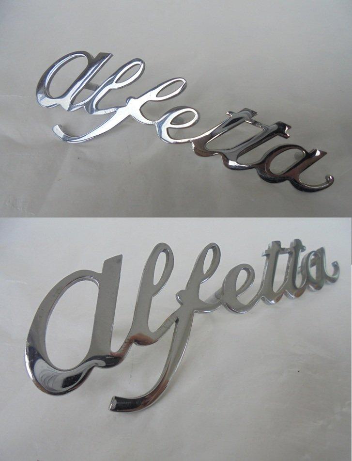 ALFA ROMEO ALFETTA car logo in metal 1970s Original Italy