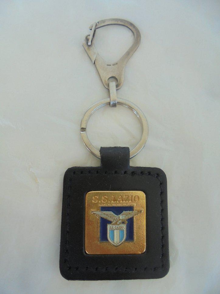 LAZIO CALCIO soccer team keychain in silver sterling 925 and leather