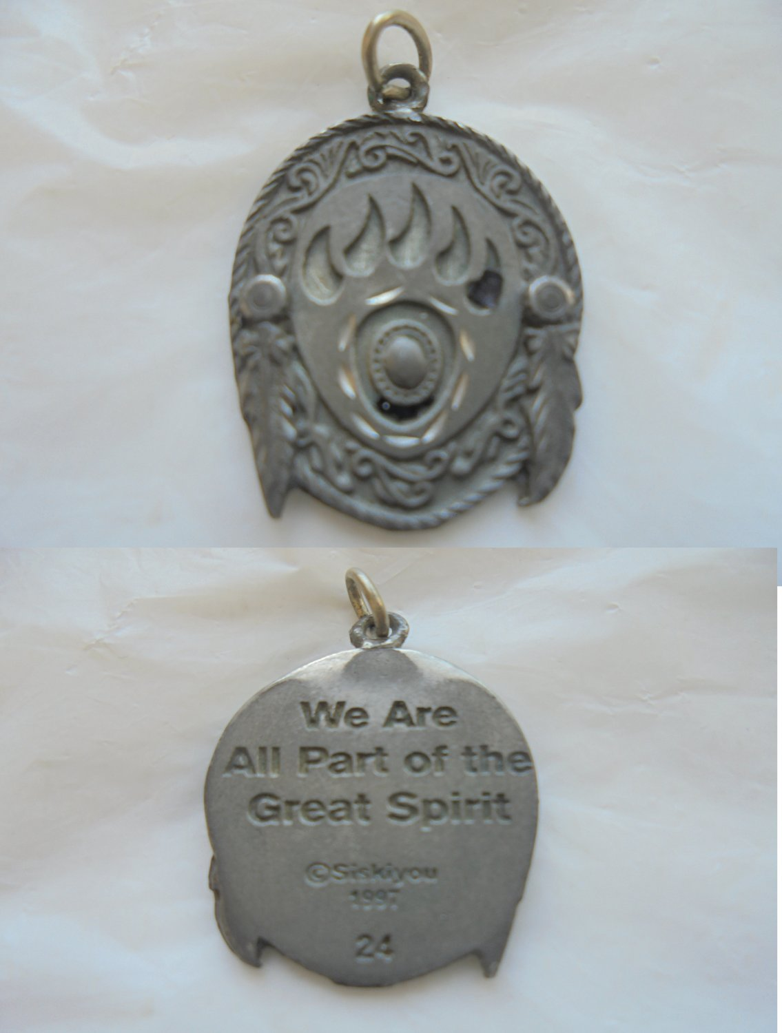 """Pendent charm Native Americans Siskiyou """"we are part of the Great Spirit"""" 1997 Original"""