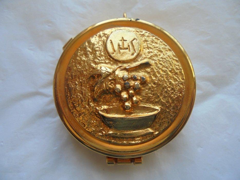 Religious Christian PILL BOX laminated gold