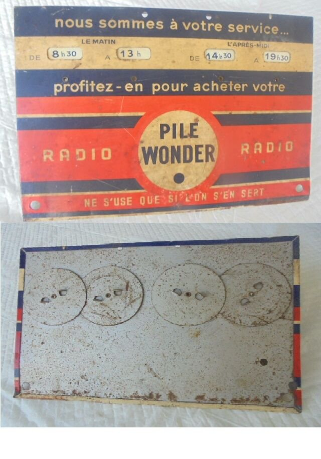 Metal ADVERTISING sign plate of PILE WONDER original 1950s