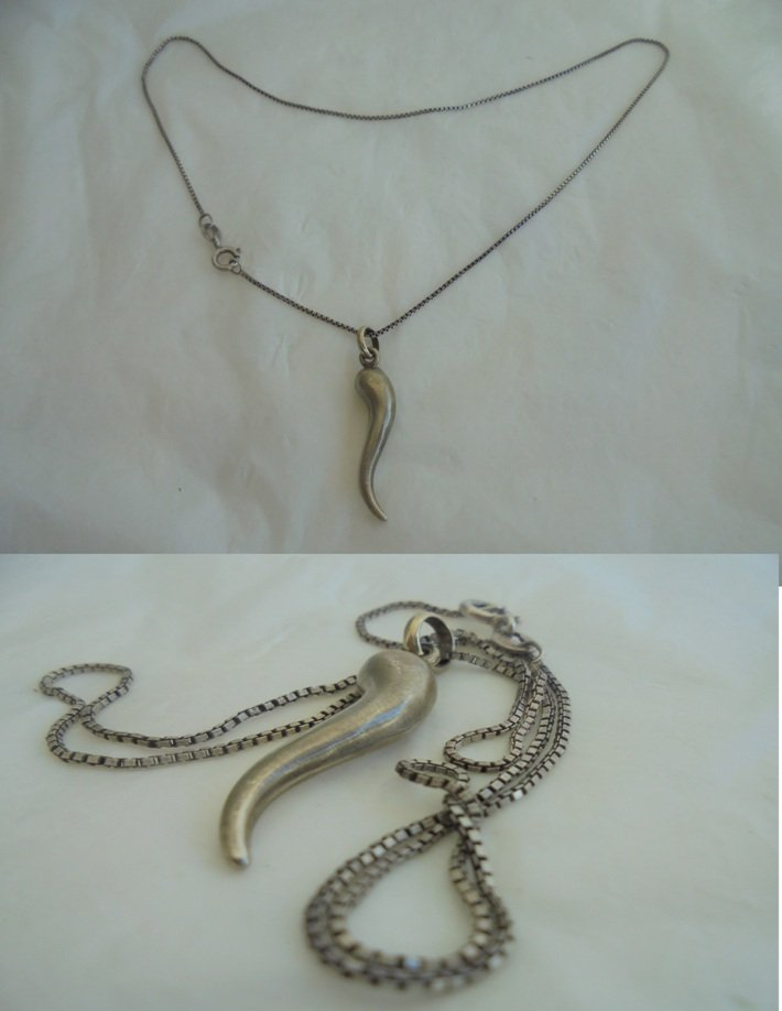 NECKLACE and PENDENT with good luck horn charm both in STERLING silver 925 Original