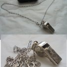 NECKLACE in sterlign SILVER 925 with emergency whistle charm pendent In gift box