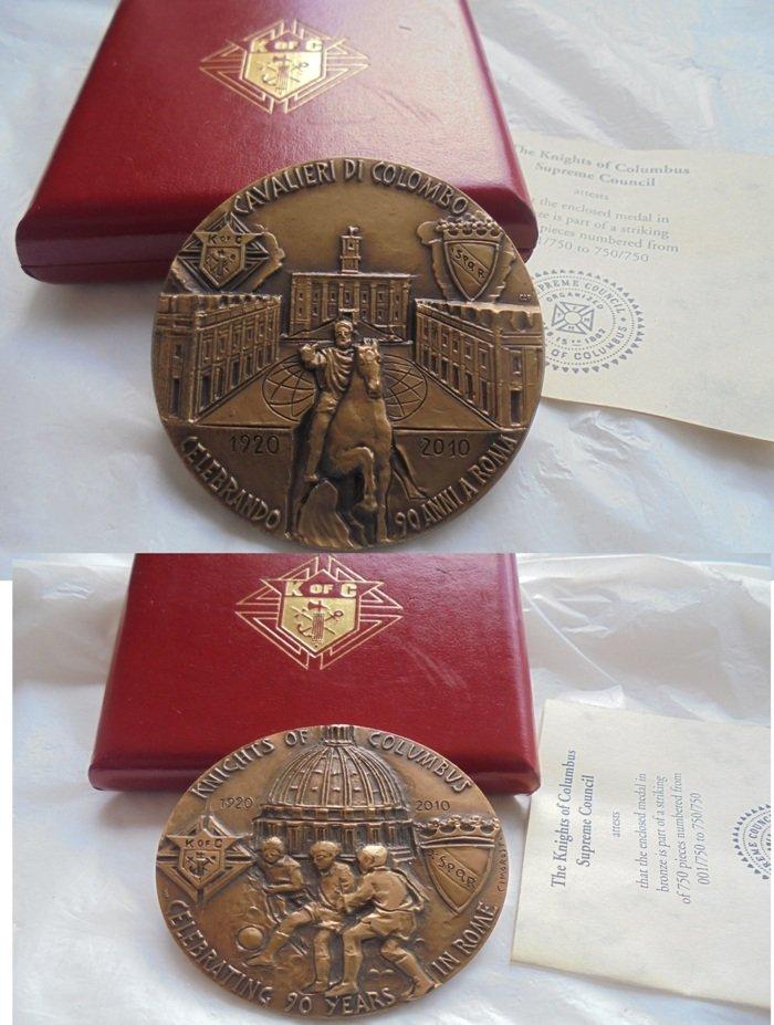 KOFC  Knights of Columbus BRONZE MEDAL engraved by Vito Valentino Cimarosti