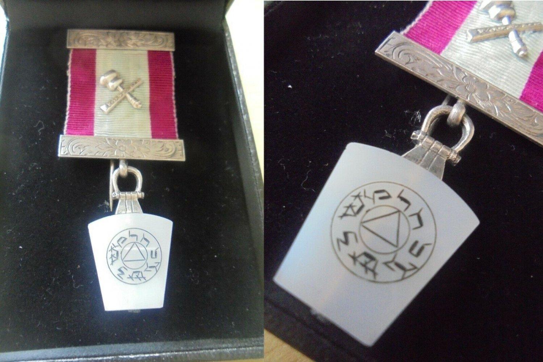 MASONIC Silver 800 BROOCH PIN esoteric Original London 1960s