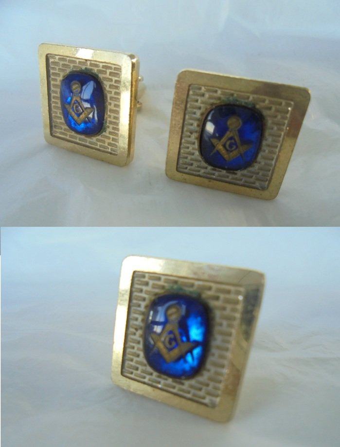 MASONIC CUFFLINKS Freemasonery Originals 1960s cuff links