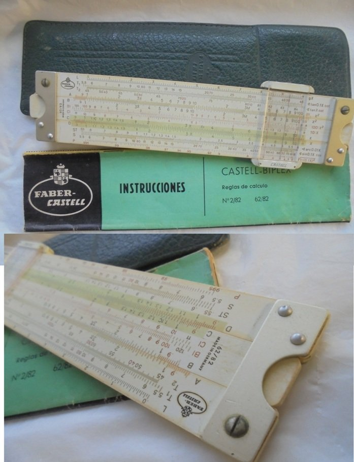 FABER CASTELL 62/82 biplex slide ruler in it's box with instructions 1970s