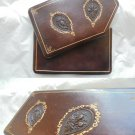 TABACCO CASE BAG in leather and gold Original Made in Italy Florence 1970s