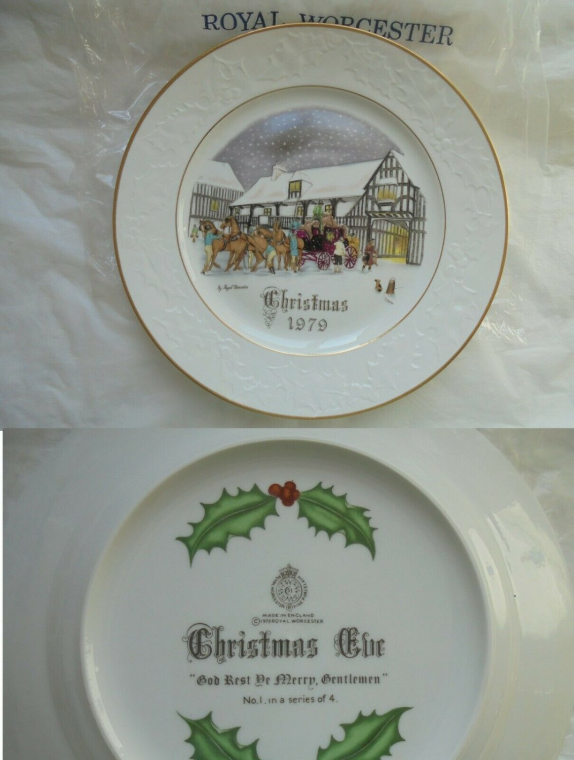 ROYAL WORCESTER collection plate dish CHRISTMAS 1979 Original New