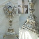 Religious MONSTRANCE in SILVER 800 Minerva and GOLD plated chiseled Original France from 1800s