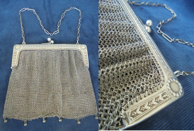 Antique purse bag in SILVER 800 Made in Italy Liberty design Original 1930s