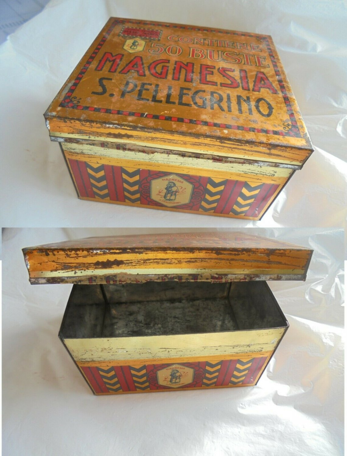 Pharmacy tin box MAGNESIA SAN PELLEGRINO Made in Italy 1960s