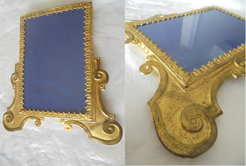 PICTURE FRAME in BRASS and glass Original beginning 1900s for wall or desk