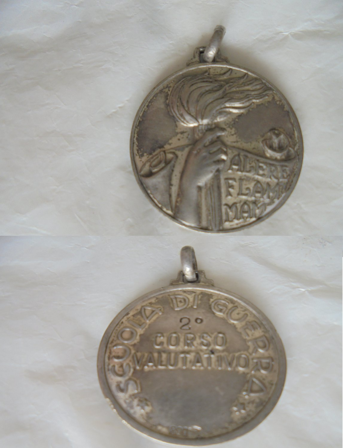 Italian Army school 2nd Course Military Medal in SILVER 800 Original 1946