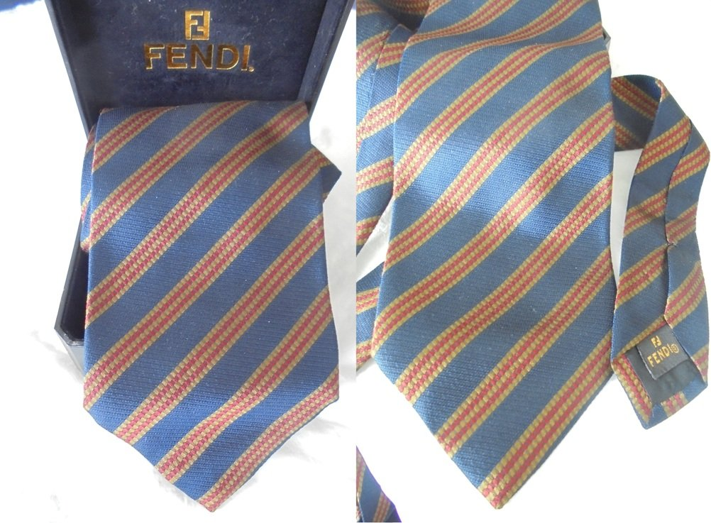 FENDI ITALY TIE blue gold and red Original necktie in 100% Silk