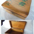 Wood box in oak and hand painted for tabacco cigarettes or jewels Original 1940s