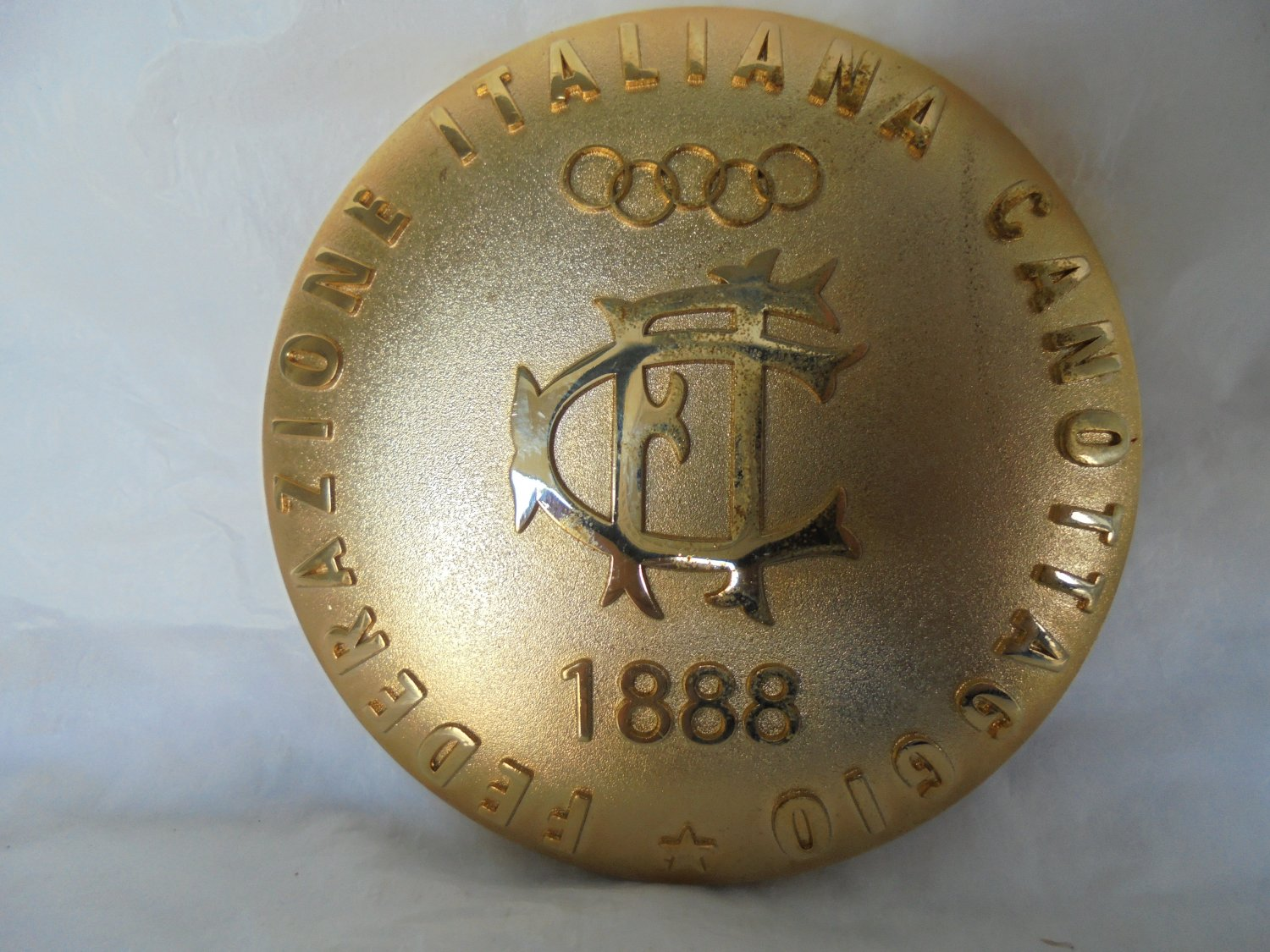 BRONZE PAPERWEIGHT Italian Federation ROWING team 1980s